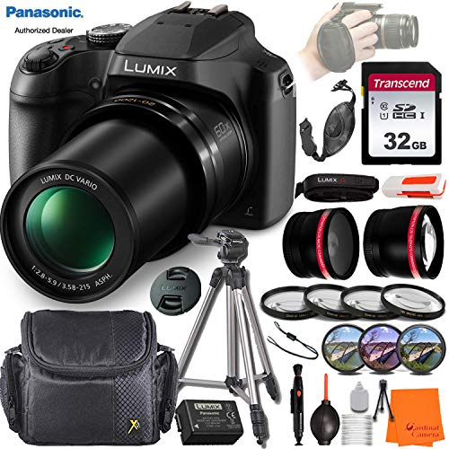 Panasonic Lumix DC-FZ80 Digital Camera w/Professional Vlogging Bundle incl. Tripod, Wide-Angle & Telephoto Lens, 32GB Memory Card w/Reader, Filter & Macro Kits, Camera Case & More
