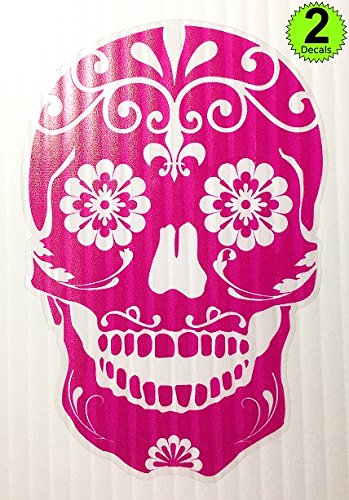 - (Version 105) OSMdecals - Hot Pink Mexican Sugar Skull Sticker Decal - Day of the Dead Die-Cut Vinyl Wall Home Decor Car Window Bumper Decal Sticker - Choose Color!