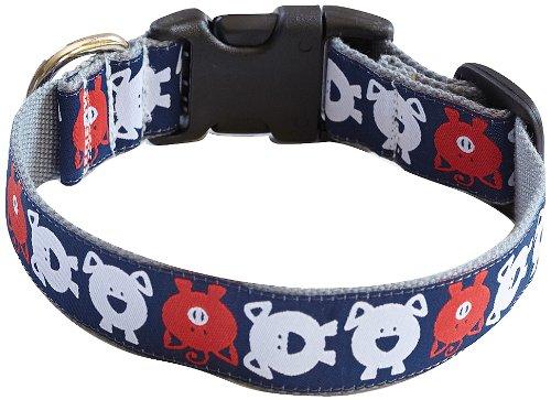 molly mutt Animal Farm Bamboo Dog Collar, Small, Navy Blue