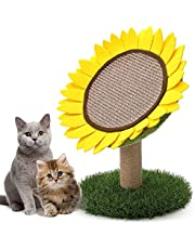 PowerKing Cat Scratching Post, Sunflower Claw Scratching Post for Kitty, Natural Sisal Scratcher Board, Cute Furniture Interactive Activity Pad Toys for Kitten & Cat, 18x12 Inch
