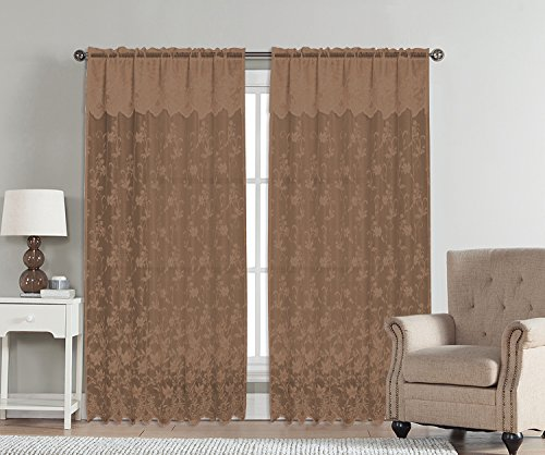 Abbey Valance (Abbey by Artistic Linen Lace Rod Pocket Window Curtain Panel with Attached Valance, 54 x 90