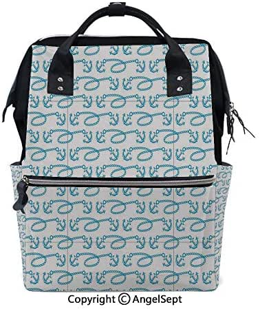 Travel&Outdoor Water-Resistant Baby Bags,Little Anchors with Chains Naval Loops Sailing Theme Cartoon Style Ocean Travel Pale Blue White,15.7 inches,Multi-Function for Mon Daddy