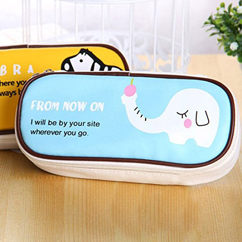 0217 Korean Cute Pu Leather Creative Large-Capacity Pencil Bag Simple Boys And Girls Cartoon Animal Pencil Case Yellow horse 25 pens