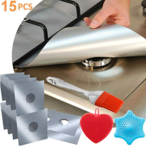 (12-Pack Reusable Gas Stove Burner Covers Silver, 2x Silicone Brush + 1pc Silicone Drain Cover, Non-Stick Stovetop Burner Liners Gas Range Protectors for Kitchen- Size 10.6