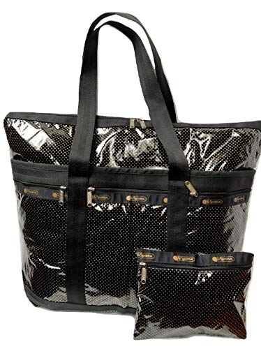 LeSportsac Golden Medley Travel Tote + Cosmetic Bag (Black Patent Metallic Gold)