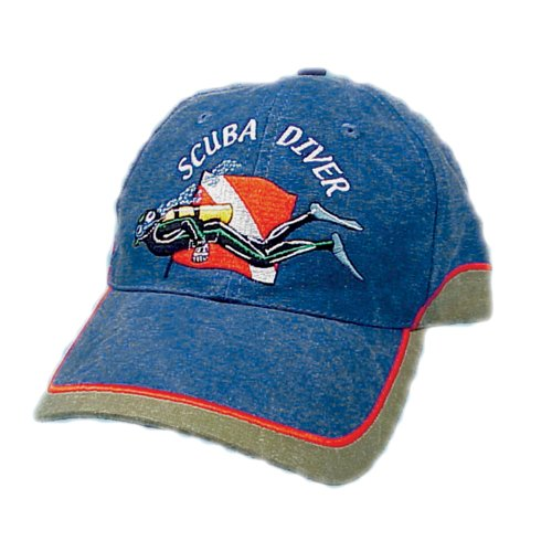Trident Two-Tone Denim Baseball Cap with Embroidered SCUBA (Diver Embroidered Cap)