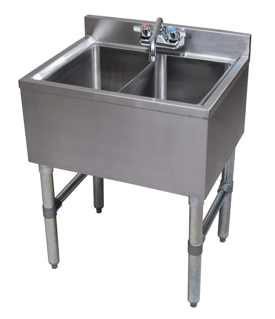 Stainless Steel Commercial Two Compartment Under Bar Sink 19 x 24