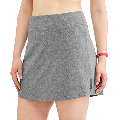 Danskin Now Women's Plus Size Activewear Athletic Cotton Blend Skort/Skirt with Built in Shorts (Heather Grey, 4X (26W-28W)) (Skirt Womens Blend)