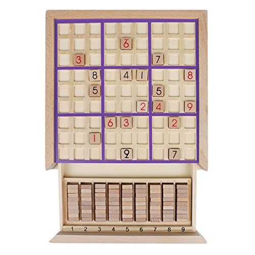 Andux Land Wooden Sudoku Puzzle Board Game with Drawer SD-02 (Purple) by Andux