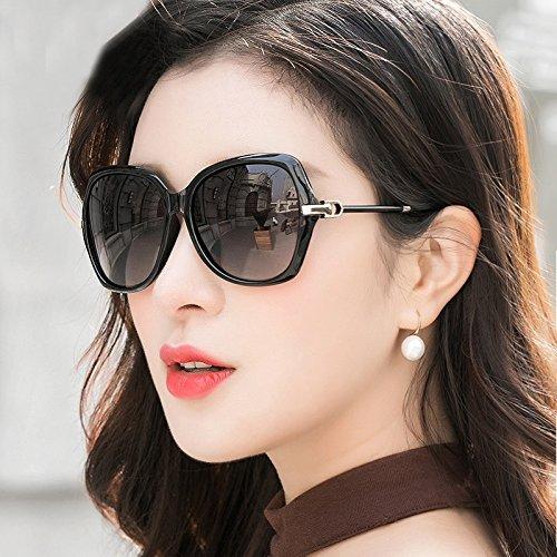 Polarizadas LIUXUEPING Grande Marrón Sol para Mujer Gafas De De Nuevas Color UV Gafas Negro Montura qg8BxqwC