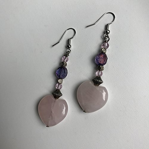 Rose Quartz Pink Stone Heart Earrings