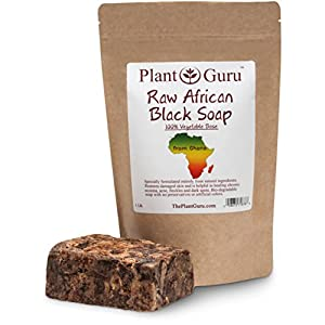 Raw African Black Soap Imported From Ghana - 100% Natural Acne Treatment, Aids Against Eczema & Psoriasis, Dry Skin, Scar Removal, Pimples and Blackhead, Face & Body Wash
