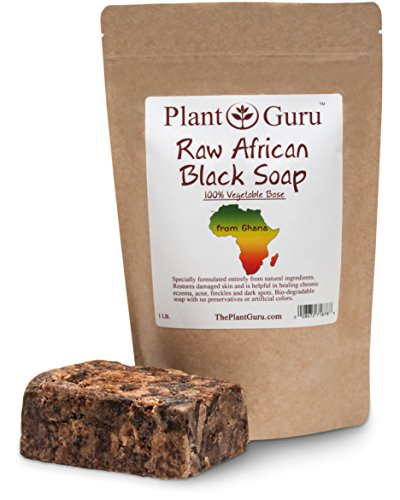Raw African Black Soap Imported From Ghana - 100% Natural Acne Treatment, Aids Against Eczema & Psoriasis, Dry Skin, Scar Removal, Pimples and Blackhead, Face & Body Wash by Plant Guru