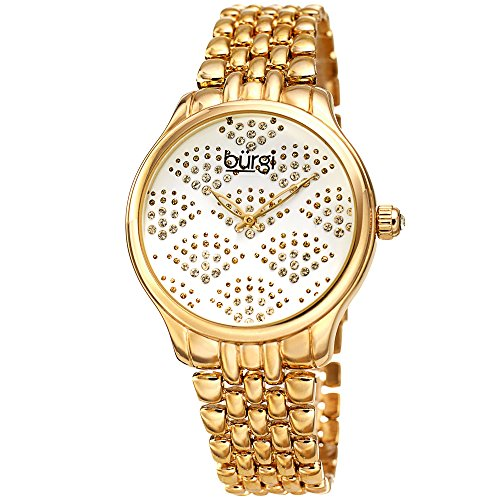 Burgi Stainless Steel Women's Watch – Sparkling Dial with Swarovski Crystals in Beautiful Fan Pattern –Gold Tone Chain Link Bracelet Band - BUR205YG - Link Designer Water Resistant Watch