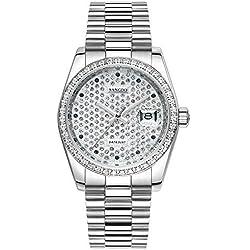 Topwatch® Sangdo Elegant Silver Finish Full Steel Men Bezel Diamond Watch