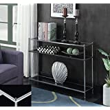 Indoor Multi-Function Accent Table Study Computer Home Office Desk Bedroom Living Room Modern Style End Table Sofa Side Table Coffee Table Black glass console