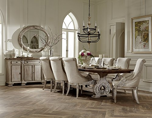 Chatelet French Country 9 Pice Trestle Formal Dining Set - White Washed with Weathered Brown Top