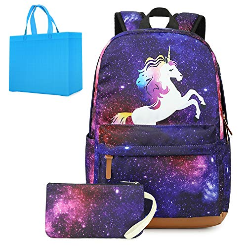 Teen Girls Backpack Unicorn School Backpack with Pencil Case Kids Bookbag Lightweight Galaxy Laptop Backpack for Womens with USB Charging Port