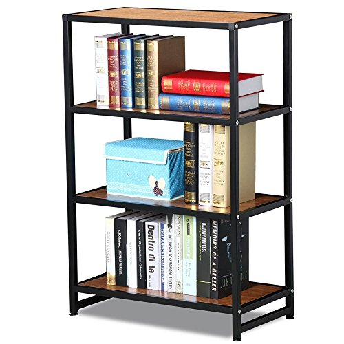 Topeakmart Modern 4 Shelves Multipurpose Bookcase Black Metal Frame Light Brown Wood Display Shelving Unit, 25.2 x 13.4 x 38'' (LxWxH) (4 Shelf Black Metal Bookcase)