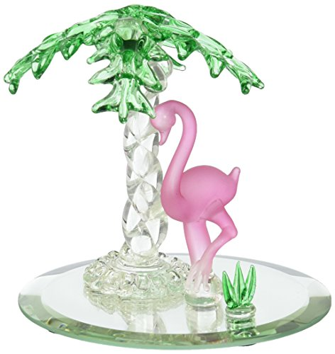 StealStreet SS-UG-CR-405 Pink Flamingo and Palm Tree on Mirror Base Glass Figurine, - Glass Mirror Palm