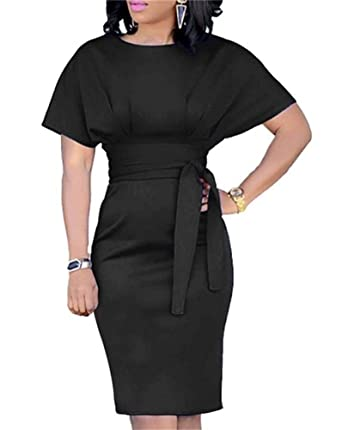 eab4e667b0a7 Voghtic Womens Elegant Short Sleeve High Waist Midi Dress with Belt for  Wedding Party Prom Gown