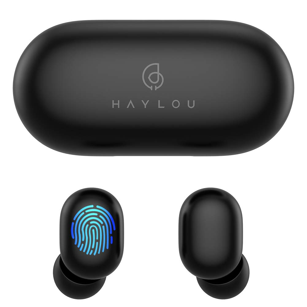 True Wireless Earbuds,Haylou GT1 Bluetooth 5.0 Sports HD Stereo Touch Control Ear Buds with IPX5 Waterproof/Fast Connection/Mini Case(Only 30g)/Total 12H Playtime (Black) by HAYLOU