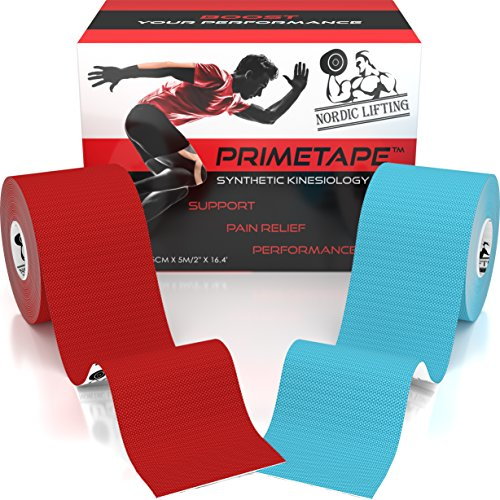 Kinesiology Tape (2-Pack) PrimeTape - Pro Sports & Athletic Taping for Knee, Shin Splints, Shoulder and Muscle - 2