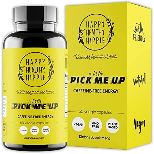 Natural Energy Supplement HAPPY HEALTHY HIPPIE Plant Based Caffeine Free Energy Pills for Metabolism, Mental Power Happiness – 7 Herbs Absorption Enhancing Piperine Vegan, Non-GMO, 60 Pills