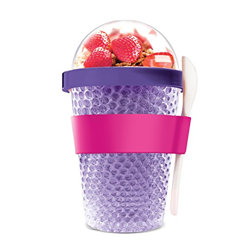 (Asobu Chill Yo2go for a 13 ounce Cold Yogurt and Cereal Breakfast On the Go with a Melamine Spoon and Silicone Holder)