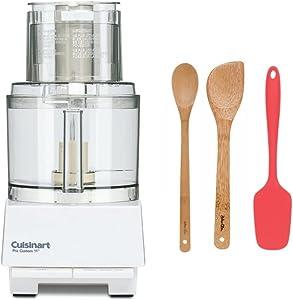 Cuisinart DLC-8S Pro Custom 11-Cup Food Processor w/Bamboo Spatula, Spoon & Silicone Spoon Spatula Bundle (4 Items)