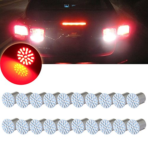 (cciyu 20pcs 1156 22SMD Red LED Exterior Light Bulbs Replacement fit for turn Signal,Side marker,Corner,Stop lights)