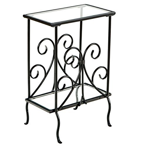 (Decorative Metal Magazine Table - Decorative Iron Scrollwork - Glass Top End Table)