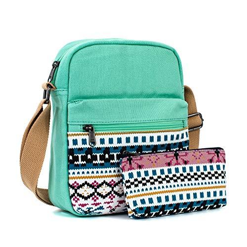 (Leaper Canvas Messenger Bag Crossbody Bag Purse Shoulder Bag Water Blue 8864-2 )