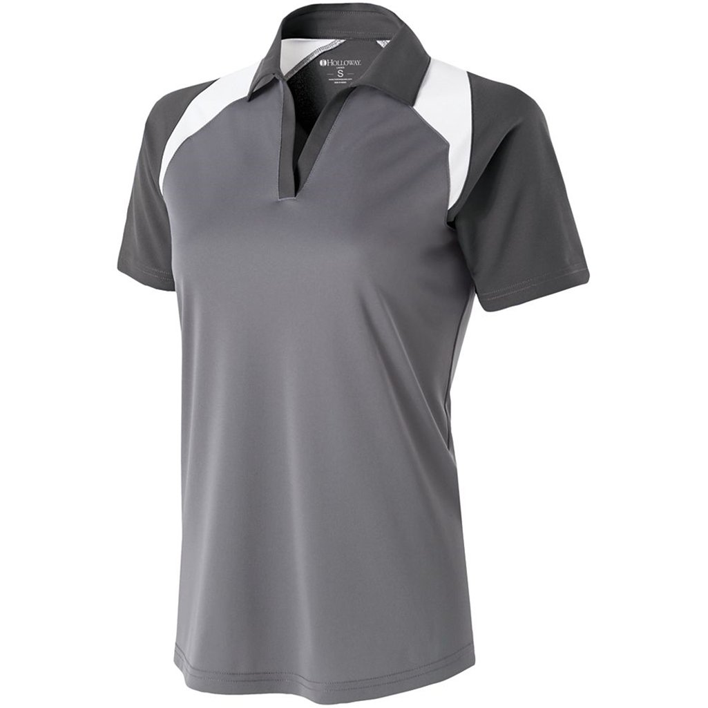 Holloway Ladies Dry Excel Shield Polo (X-Small, Graphite/Carbon/White) by Holloway