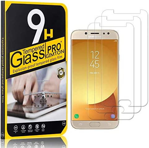 GIMTON Displayschutzfolie für Galaxy J7 2017, Ultra klar Schutzfilm aus Gehärtetem Glas, Anti Kratzen Displayschutz Schutzfolie für Samsung Galaxy J7 2017, 3 Stück