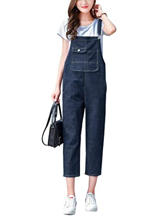060f60c25d9f Amazon.com  Gooket Women s Casual Denim Cropped Harem Overalls Pant Jeans  Jumpsuits  Clothing