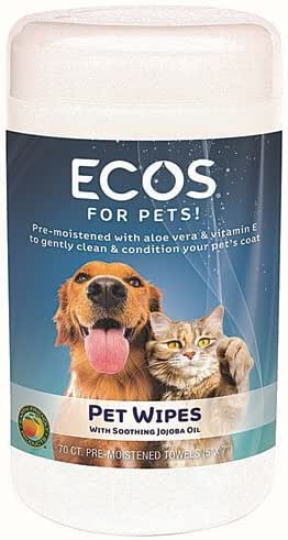 ECOS Natural Pet Wipes, Pre-Moistened Towels, 70-Count Container