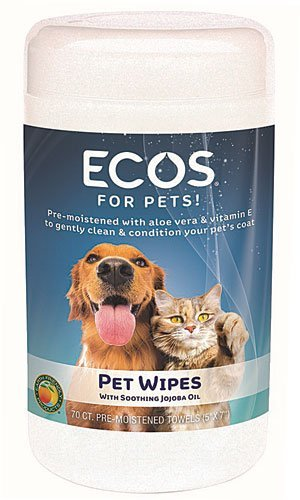 ECOS Natural Pet Wipes, Pre-Moistened Towels, 70-Count Container by ECOS