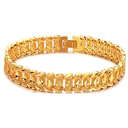 Suyi Men's 18K Gold Plated Link Bracelet Classic Carving Wrist Chain Link Bangle Narrow