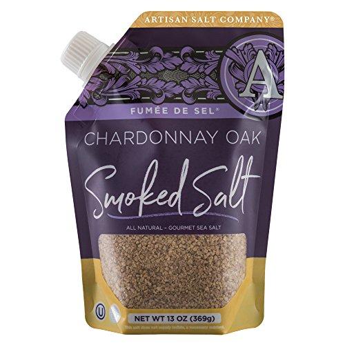 SaltWorks Fumée de Sel Chardonnay Oak Smoked Sea Salt, Artisan Pour-Spout Pouch, 13 Ounce