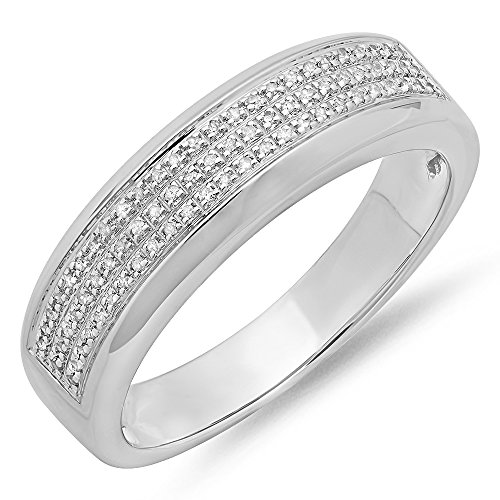 0.25 Carat (ctw) Sterling Silver Round Diamond Men's Micro Pave Hip Hop Wedding Band 1/4 CT (Size 10.5) by DazzlingRock Collection