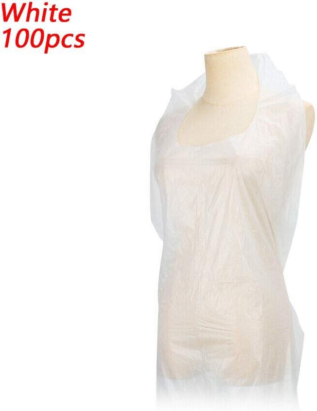 DINGWEN - Delantal desechable (100 unidades, plástico impermeable, polietileno de alta densidad)