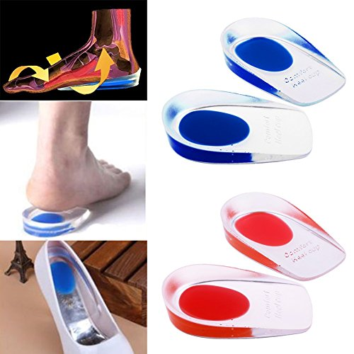[1Pair Silicon Gel Heel Cushion Insoles Soles Relief Foot Pain Spur Support Shoe Pad Plantar Fasciitis Heel Pain insert] (Shock Treatment Costumes)