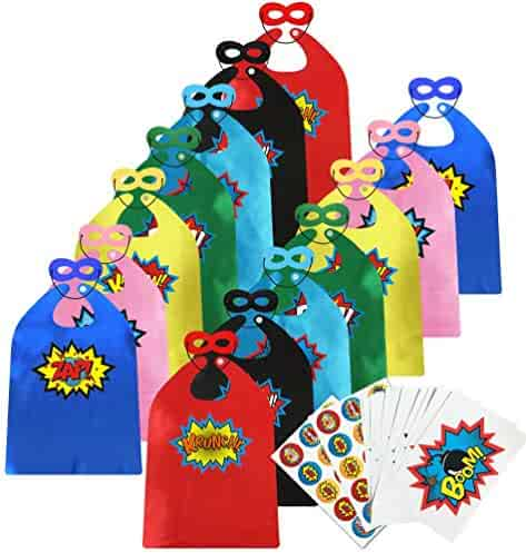 ADJOY Children Super Hero Capes and Masks Bulk Pack with Superhero Stickers - Superhero Themed Birthday Party Dress Up Capes