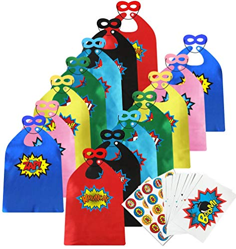 ADJOY Children Super Hero Capes and Masks Bulk Pack with Superhero Stickers - Superhero Themed Birthday Party Dress Up Capes]()