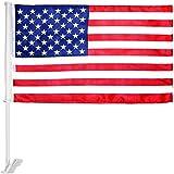"IrisUSA United States American Window Clip on USA Car Flag 10"" x 19"""