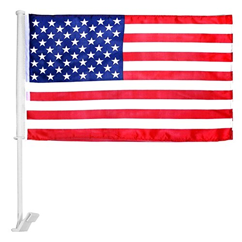 Patriotic Car Window Clip Flag – 100% Polyester Double Sided Confidential Symbol of USA (10