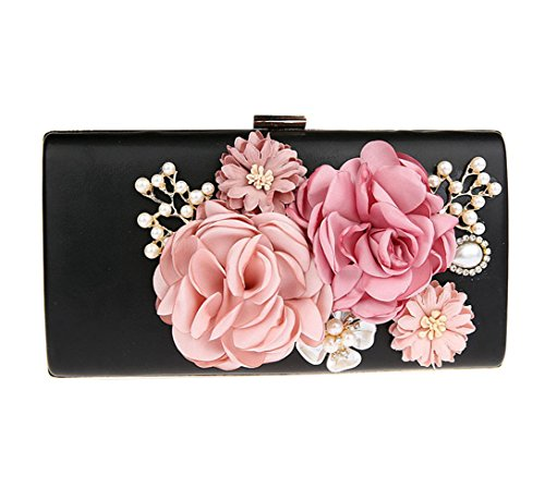 sac floral Flada chaîne Noir embrayage rose avec violet Perle femme soirée Cristal XpggxaT