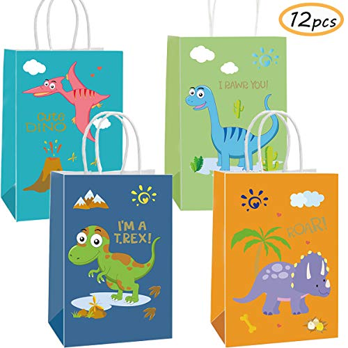 Funnlot Dinosaur Party Bags 12PCS Dinosaur Gift Bags Dinosaur Goodies Bags Dino Kids Birthday T-Rex Roar Party Supplies Favors -