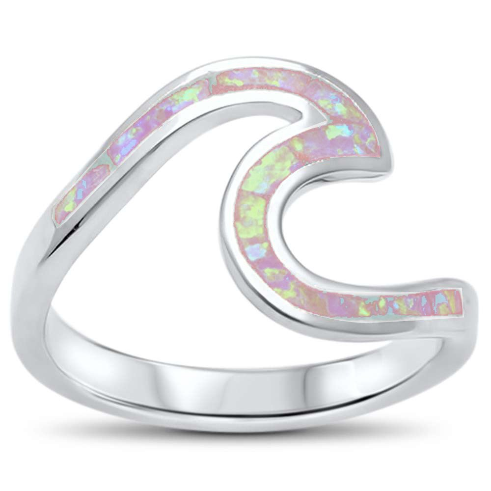 Oxford Diamond Co Wave Ocean Beach Lab Created Opal .925 Sterling Silver Ring sizes 4-12 Colors Available (Lab Created Pink Opal, 9)